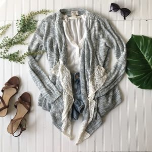 Sweaters - Lace open front cardigan sweater blue grey white
